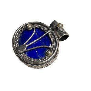 Ornate Lapis Lazuli Sterling Silver Pendant